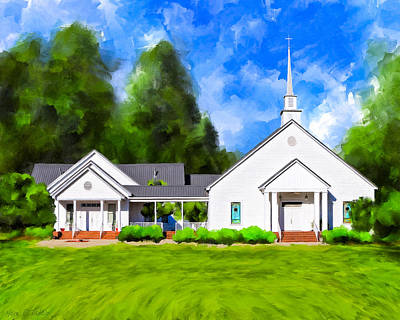 Religious Art Mixed Media - Old Country Church - Whitewater Baptist by Mark Tisdale