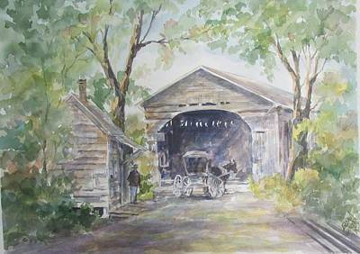 Covered Bridge Painting - Old Cover Bridge At Pee Dee River by Gloria Turner