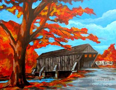 Covered Bridge Drawing - Old Covered Bridge In The Fall by John Malone