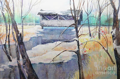 Covered Bridge Painting - Old Covered Bridge by Sharon Nelson-Bianco