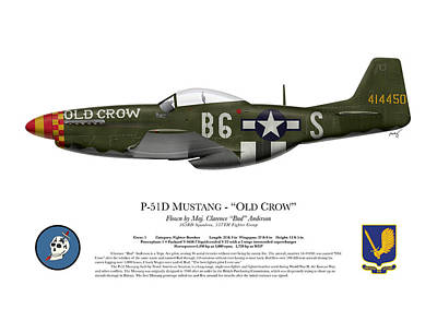 Anderson Digital Art - Old Crow - P-51 D Mustang by Ed Jackson