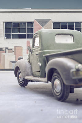 Building Factory Work Vintage Photograph - Old Delivery Truck by Edward Fielding