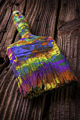 Messy Photograph - Old Dried Paintbrush by Garry Gay