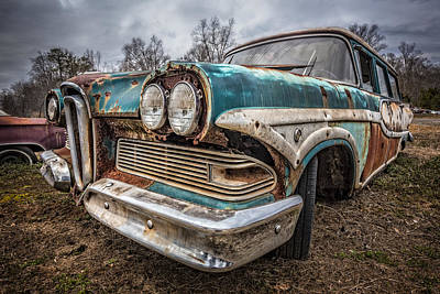 Old Edsel Print by Debra and Dave Vanderlaan