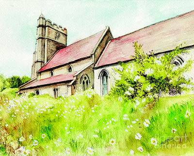 Religious Art Mixed Media - Old English Country Church by Morgan Fitzsimons