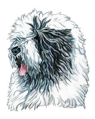 Old English Sheepdog Print by Kathleen Sepulveda