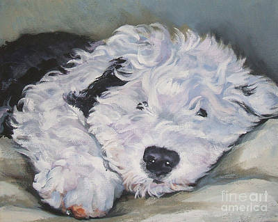 Old English Sheepdog Pup Print by Lee Ann Shepard