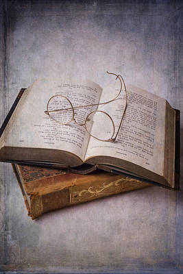 Old Eyeglasses And Books Print by Garry Gay
