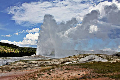 Old Faithful Geyser Eruption Yellowstone National Park Wy Print by Christine Till
