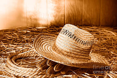 Old Farmer Hat In Hay Barn - Sepia Print by Olivier Le Queinec