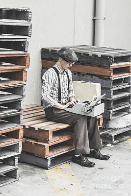 Pallet Photograph - Old Fashioned Male Journalist Writing News Report by Jorgo Photography - Wall Art Gallery