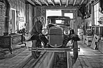 Old Fashioned Tlc - Paint Bw Print by Steve Harrington