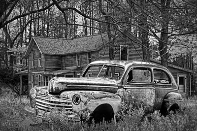 Michigan Farmhouse Photograph - Old Ford Coupe In Black And White By An Abandoned Farm House by Randall Nyhof