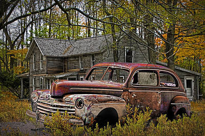 Michigan Farmhouse Photograph - Old Ford Coupe by Randall Nyhof