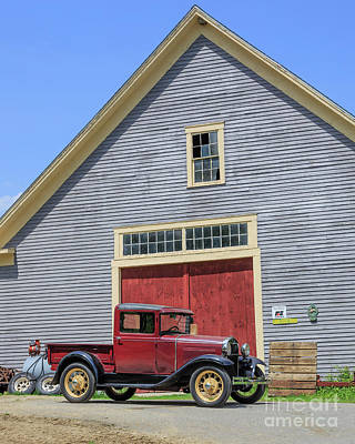 Classic New England Barns Photograph - Old Ford Model T Pickup In Front Barn by Edward Fielding