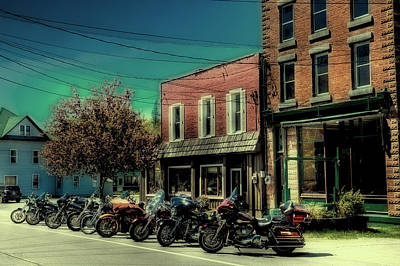 Old Forge Harley's - Vintage Postcard Print by David Patterson