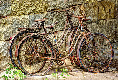 Old French Bicycles Print by Debra and Dave Vanderlaan