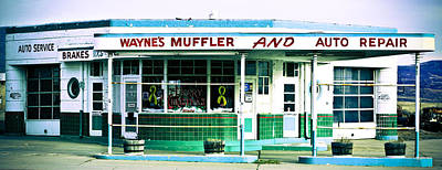 Muffler Photograph - Old Gas Station Green Tile by Marilyn Hunt