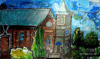 French Open Drawing - Old German Church In New Melle Missouri by Genevieve Esson
