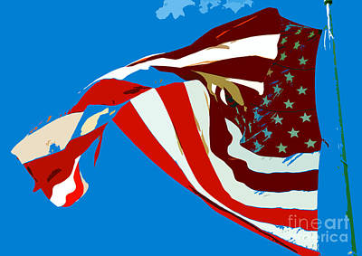 Old Glory Flying Print by David Lee Thompson