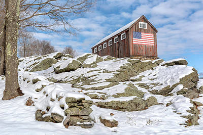 Old Glory Winter Print by Bill Wakeley