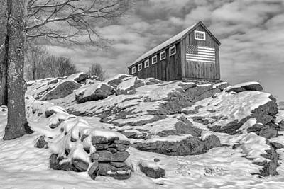 Old Glory Winter Bw Print by Bill Wakeley