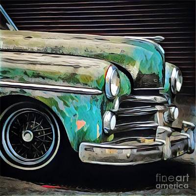 Old Green Car Print by Amy Cicconi