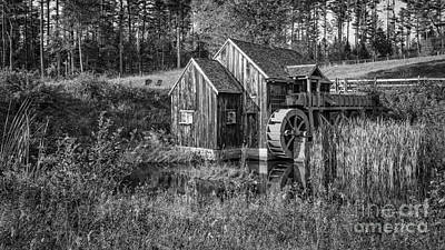 Old Grist Mill In Vermont Black And White Print by Edward Fielding