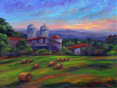 Asheville Painting - Old Hollabrook Farm At Dusk by Jeff Pittman