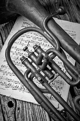 Sheet Music Photograph - Old Horn And Sheet Music by Garry Gay