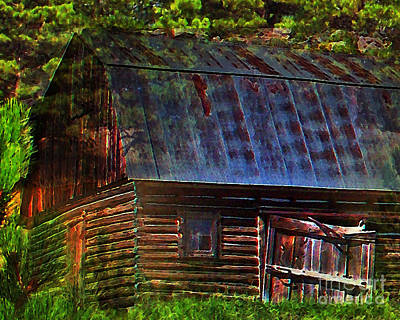 Old Horse Barn In The Pines Print by Terril Heilman