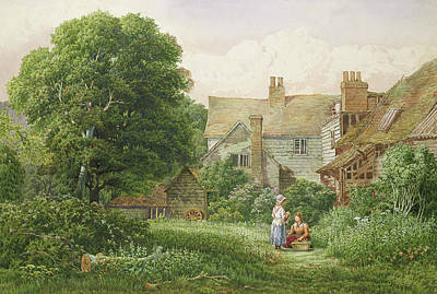 Chimneys. Flowers Painting - Old House At Hendon  by Bernard Walter Evans