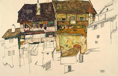 Old House Drawing - Old Houses In Krumau by Egon Schiele