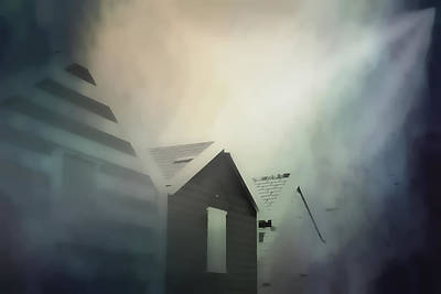 Haunted House Photograph - Old Huts In The Mist - Digital Watercolour by Tom Gowanlock