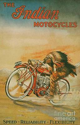 Old Indian Motorcycle Print by Pd