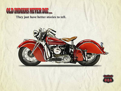 Vintage Motorcycle Photograph - Old Indians Never Die by Mark Rogan