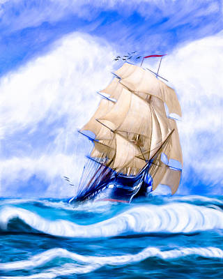Old Ironsides On The High Seas Print by Mark E Tisdale