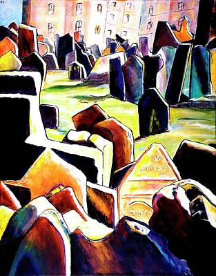 Old Jewish Cemetary In Prague Print by Miki  Sion