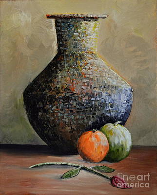 With Pallet Knife Painting - Old Jug And Fruit by Martin Schmidt