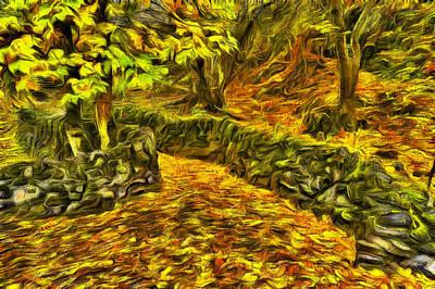 Walkway Digital Art - Old Liberty Park In Autumn by Mark Kiver