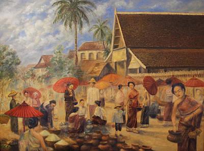 Laos Painting - Old Luang Prabang II by Sompaseuth Chounlamany