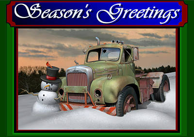 Old Trucks Digital Art - Old Mack Christmas Card by Stuart Swartz