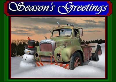 Old Mack Christmas Card Original by Stuart Swartz