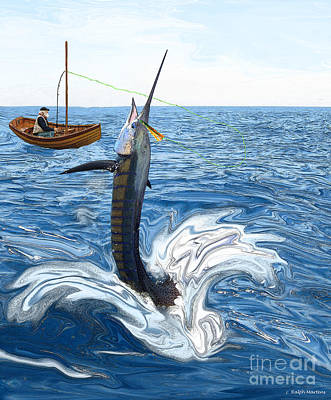 Old Man Fishing Painting - Old Man And The Sailfish by Ralph Martens