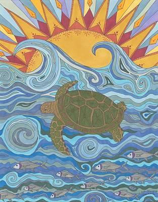 Sea Turtles Drawing - Old Man Of The Sea by Pamela Schiermeyer