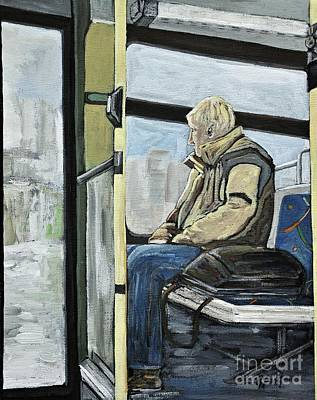 Quebec Art Painting - Old Man On The Bus by Reb Frost