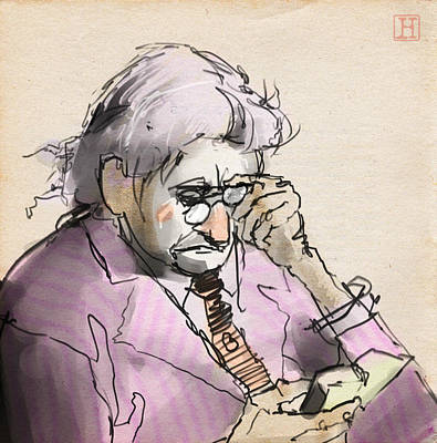 Beige Glass Drawing - Old Man Reading A Small Book by H James Hoff