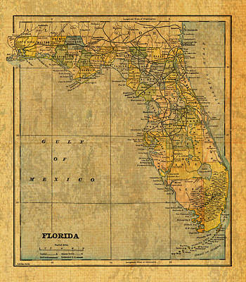 Old Map Of Florida Vintage Circa 1893 On Worn Distressed Parchment Print by Design Turnpike