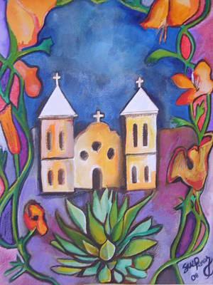 Las Cruces Painting - Old Mesilla Church by Susan Wester Perez
