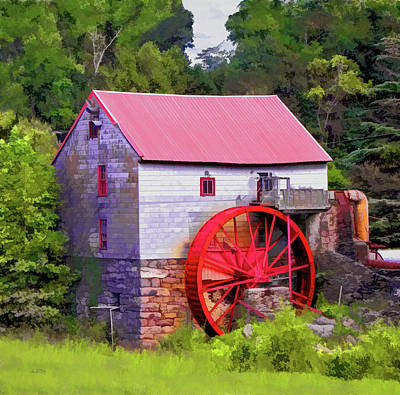 Old Mill Of Guilford Painted Square Print by Sandi OReilly